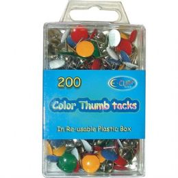 48 Units of Color Thumb Tacks 200 Count - Push Pins and Tacks
