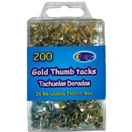48 Units of Thumb tacks, gold, 200 ct., reusable box - Push Pins and Tacks