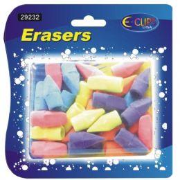 48 Units of Pencil Top Erasers, 30 Ct., Asst. Colors - Erasers