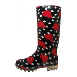 18 Units of 13 1/4 Inches Women's Black Red Roses Printed Rain Boots Size 5-10 - Women's Boots