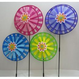 "48 Units of 13"" Round Double Wind Spinner w Flower - Wind Spinners"