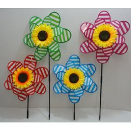 "120 Units of 14"" Double Wind Spinner [Stripes & Sunflower] - Wind Spinners"