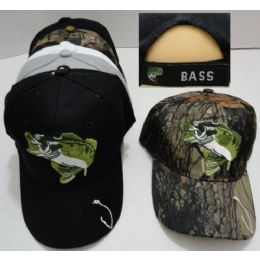 24 Units of Fish Hat [hook On Bill] **bass On Back** - Hunting Caps
