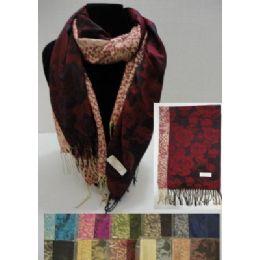 48 Units of Pashmina With FringE--Large Roses & Cheetah Print - Womens Fashion Scarves