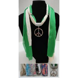 """96 Units of Scarf NecklacE-Colored Rhinestone Peace Sign 70"""" - Womens Fashion Scarves"""