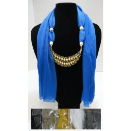 """48 Units of Scarf Necklace-Crescent Moon W/ Gold Scrollwork 70"""" - Womens Fashion Scarves"""