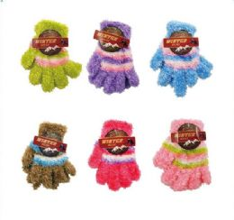144 Units of Children's Striped Stretch Fuzzy Gloves - Kids Winter Gloves