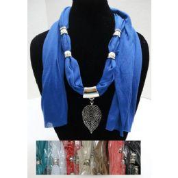 "48 Units of Scarf Necklace-Filigree Leaf 68"" - Womens Fashion Scarves"