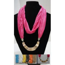 48 Units of Scarf NecklacE-Loop Scarf W/ Golden Charms - Womens Fashion Scarves