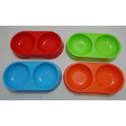 36 Units of Small Double Pet Dish [Bright Colors] - Pet Accessories