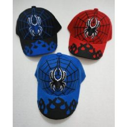 24 Units of Child's Spider & Web Hat [flames On Bill] - Kids Baseball Caps