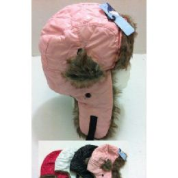 36 Units of Child's Bomber Hat with Fur Lining -Quilted - Trapper Hats