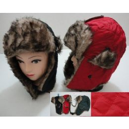 36 Units of Bomber Hat with Fur Lining--Solid Quilted - Trapper Hats