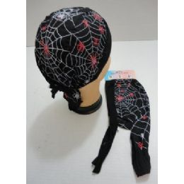 48 Units of Skull Cap-Red & White Spiders & Web - Bandanas