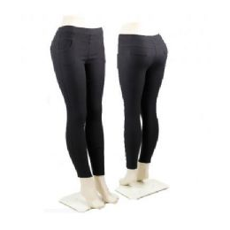 36 Units of Ladies Black Stretch Pants Leggings - Womens Leggings