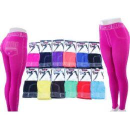 60 Units of Ladies Jeans Look Leggings In Assorted Colors - Womens Leggings