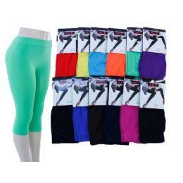 60 Units of Ladies Bright Color Capri Leggings - Womens Leggings