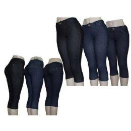 60 Units of Ladies Denim Like Capri Legging Jegging - Womens Leggings