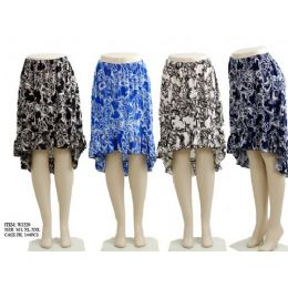144 Units of Ladies Printed High Low Skirts - Womens Skirts