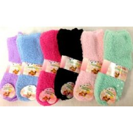 96 Units of Girls Babys Fuzzy Socks Size 4-6 Solid Colors - Girls Crew Socks