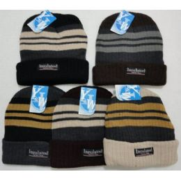 48 Units of Heavy Duty Insulated Toboggan With Stripes Winter Hat - Winter Beanie Hats