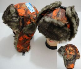12 Units of Aviator Hat with Fur Trim, Orange Camo - Trapper Hats