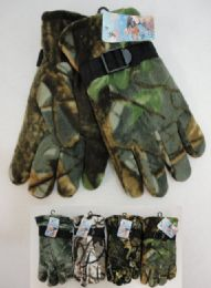 24 Units of Men's Hardwood Camo Fleece Gloves - Fleece Gloves