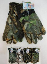 24 Units of Men's Hardwood Camo Fleece Gloves - Fleece Gloves