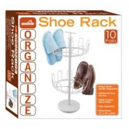 4 Units of 10-Pair 2 Tier Revolving Shoe Racks - Home Accessories