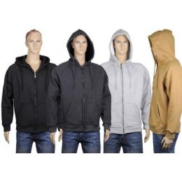 24 Units of Mens Thermal Zip Front Jacket With Sherpa Lining. - Mens Sweat Shirt