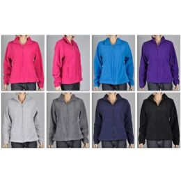 48 Units of Ladies Polar Fleece Zip Dfown Sweater / Jacket Plus Sizes - Womens Sweaters & Cardigan