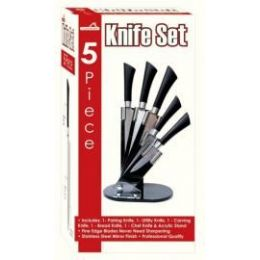 6 Units of 5 Piece Knife Stand With Acrylic Stand - Kitchen Knives