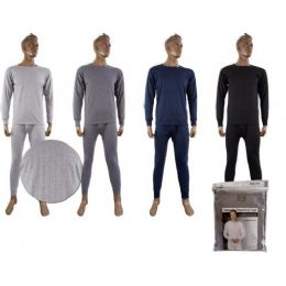 36 Units of Mens Fleece Thermal Set Light Gray Only - Mens Thermals