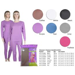 72 Units of Ladies Thermal Set Teal Asst Colors Sizes S-2xl - Womens Thermals
