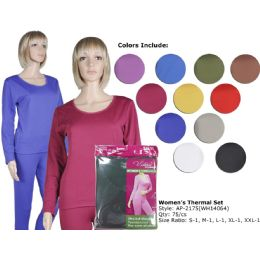 72 Units of Ladies Ultra Soft Microfiber Fleece Lined Thermal Sets - Womens Thermals