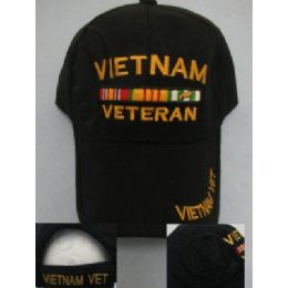 24 Units of Vietnam Veteran Hat-All Black - Military Caps