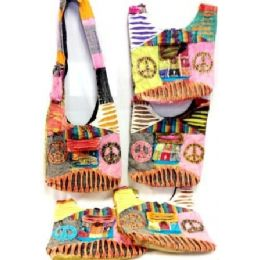 5 Units of Nepal Two Peace Sign Hobo Bags W/ Front Pocket Assorted - Handbags