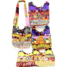 5 Units of Tie Dye Hobo Bags Peace Sign With 2 Front Pockets - Handbags