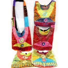 5 Units of Nepal Tie Dye Cotton Peace Sign Hobo Sling Bags Purses - Handbags