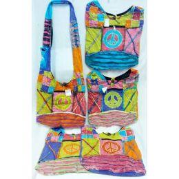 5 Units of Peace With Cross Design Hobo Bags Sling Purses Ast - Handbags