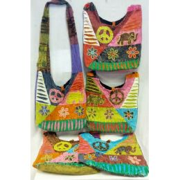 5 Units of Nepal Elephant Flower Design Hobo Bags Sling Purses Ast - Handbags
