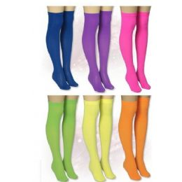 36 Units of Neon Opaque Thi High With Band Top - Womens Thigh High Stocking