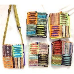 100 Units of Small Nepal Crossbody Bags Tie Dye Fabric Sling Purses - Handbags