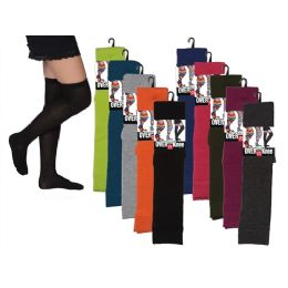 48 Units of Women Over The Knee Solid Colors - Womens Over the knee sock