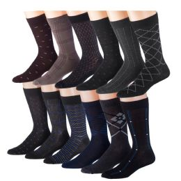 60 Units of Mens 3 Pack Dress Sock Size 10-13 Assorted Color Only - Mens Dress Sock