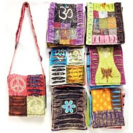 36 Units of Assorted Nepal Small Bags Tie Dye Fabric Sling - Handbags
