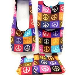 36 Units of Patch Peace Sign Cotton Hobo Bags Purses 5 pieces - Handbags