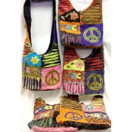 36 Units of  Peace Purse Hobo Bags With One flower Design Tie Dye - Handbags