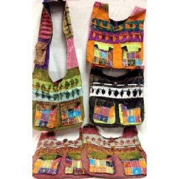 36 Units of Double Pockets Front Nepal Cotton Hobo Bags Assorted - Handbags