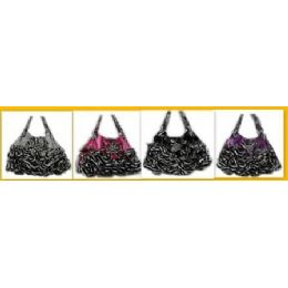 36 Units of Flower & Ruffles Rhinestone Fashion Purses - Leather Purses and Handbags
